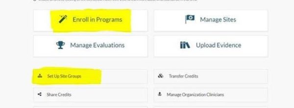 """screenshot of the organization dashboard with """"enroll in programs"""" highlighted"""