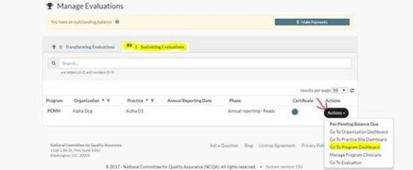 screenshot of Manage Evaluations page
