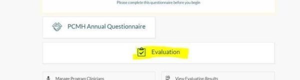 Screenshot of webpage with Evaluations highlighted