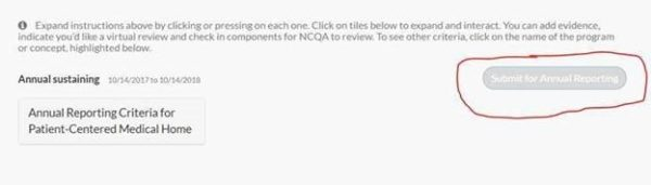 screenshot of webpage with the submit for annual reporting button circled